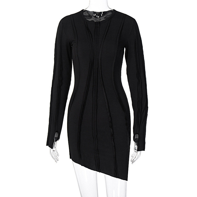 BOOFEENAA Asymmetric Black Bodycon Dresses for Women Clothes 2020 Fashion Sexy Ribbed Knitted Long Sleeve Mini Dress C95-CB31 5