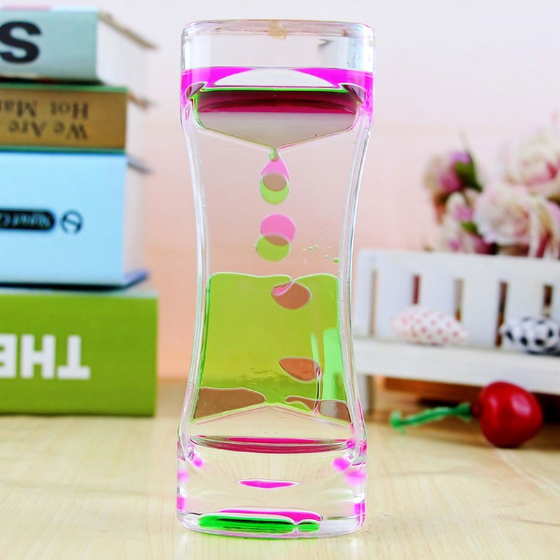 Floating Color Mix Illusion Timer Liquid Motion Visual Slim liquid Oil Glass Acrylic Hourglass Timer Clock Desk Ornament(China)