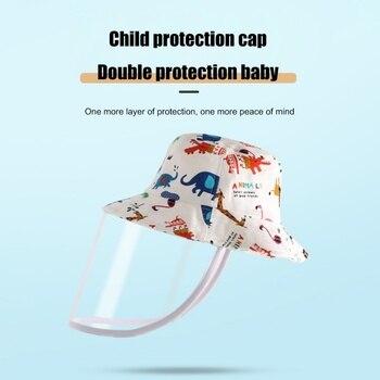 Crianças anti-cuspindo tampa protetora respingo-prova removível capa de rosto ao ar livre chapéus capa protetora para crianças