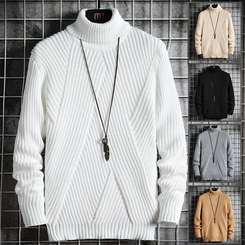 2020 Fall/Winter Men's Turtleneck Sweater Korean Slim Young Student Turtleneck Lapel Sweater Sweater Knitted Base Shirt Trend 5