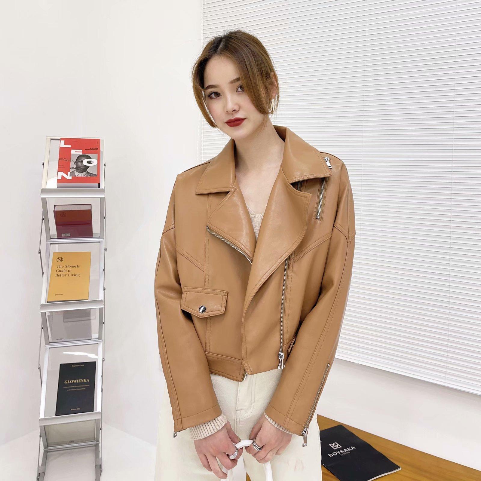 Casual PU Faux Leather Jacket Women Loose Short Biker Jackets Outwear Female Tops BF Style Black Leather Jacket Coat Fashion 2