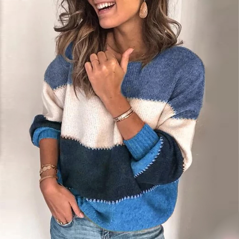 VIEUNSTA Fashion Patchwork O-neck Autumn Winter Sweater 19 Women stitching O-neck sweater