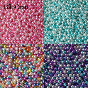 100Pcs 8mm Two-tone Round Imitation ABS Pearl Beads For Decoration Scrapbook DIY Sewing Craft Garment Beadwork Supplies
