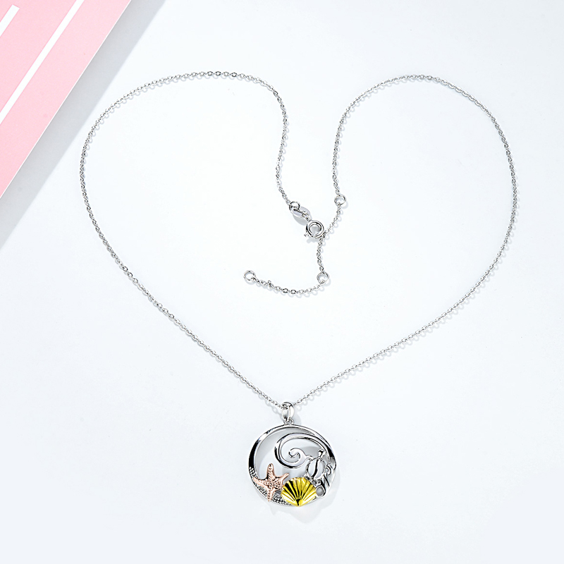 TONGZHE Charm Star Moon Fish Shell Pendant Necklaces 100% 925 Sterling Silver Necklace Rainbow Cute Animal Pendants Women Gift