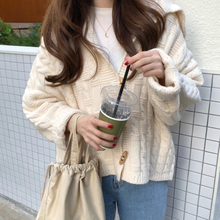 Lazy Style Autumn Winter Elegant Women Beige Coats Femme Clothing Warm Soft Loose Cardigan Sweet Knitted Sweater DA462(China)