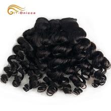 Indian Bouncy Curly Human Hair Extensions 1 3 4 Bundle Deals Remy Hair Weave Bundles Funmi Hair Natural Color Для Черный Женщины
