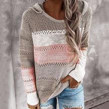 2020 Женская толстовка с капюшоном легкий вязаный свитшот пуловер