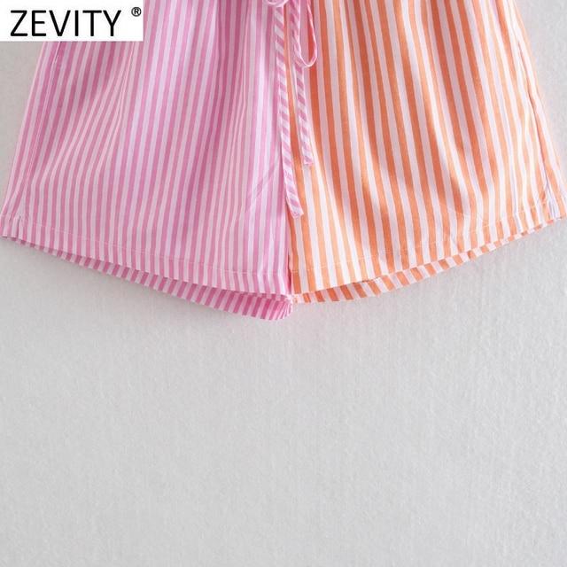 Zevity Women Fashion Patchwork Striped Print Casual Hot Bermuda Shorts Female Chic Elastic Waist Summer Pantalone Cortos P1086 6