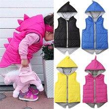Модная зимняя теплая детская куртка с хлопковой подкладкой и рисунком динозавра для маленьких девочек однотонная Верхняя одежда без рукавов с капюшоном, жилет на молнии От 0 до 7 лет