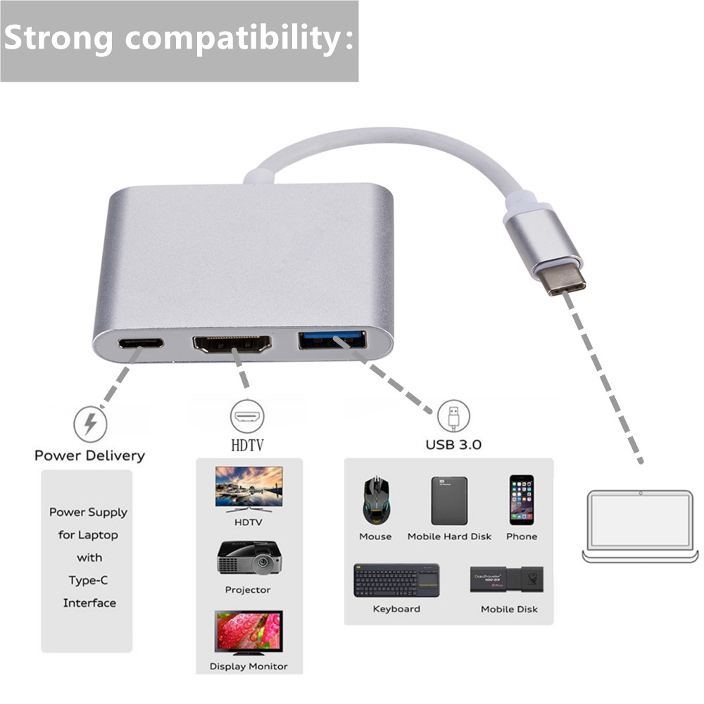 cheapest Grwibeou USB C to HDMI Type c Hdmi Converter Adapter USB 3 1 to HDMI USB 3 0 Type-C For Mac Air Pro Huawei Mate10 Samsung S8