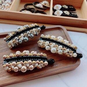 Женская заколка-пряжка для прически «конский хвост» с цветными кристаллами, элегантные аксессуары для волос