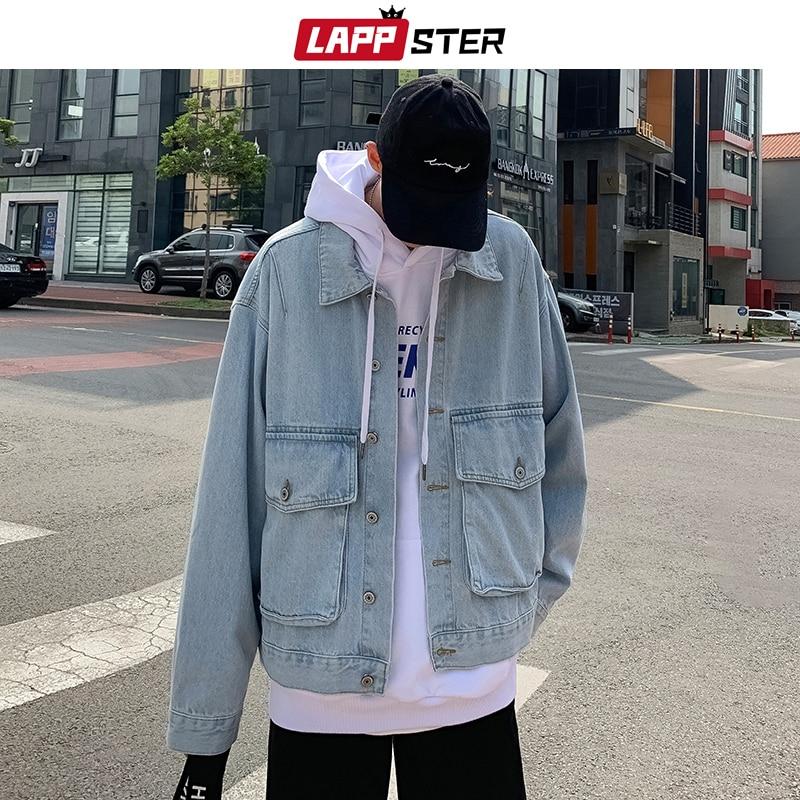 Jeans Jackets Oversized LAPPSTER Coats Harajuku Streetwear Korean Fashions Long-Sleeve
