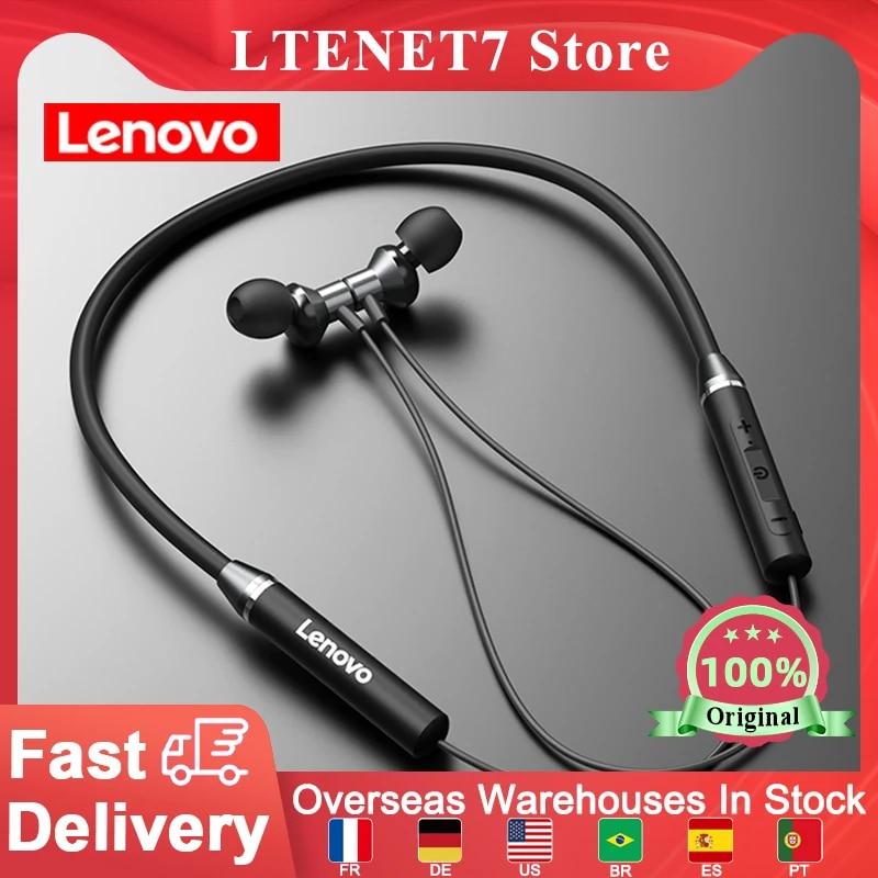 Original Lenovo HE05 BT5.0 Neckband Earphone Wireless Stereo Sports Magnetic Headphones Sports Running IPX5 Waterproof Headset