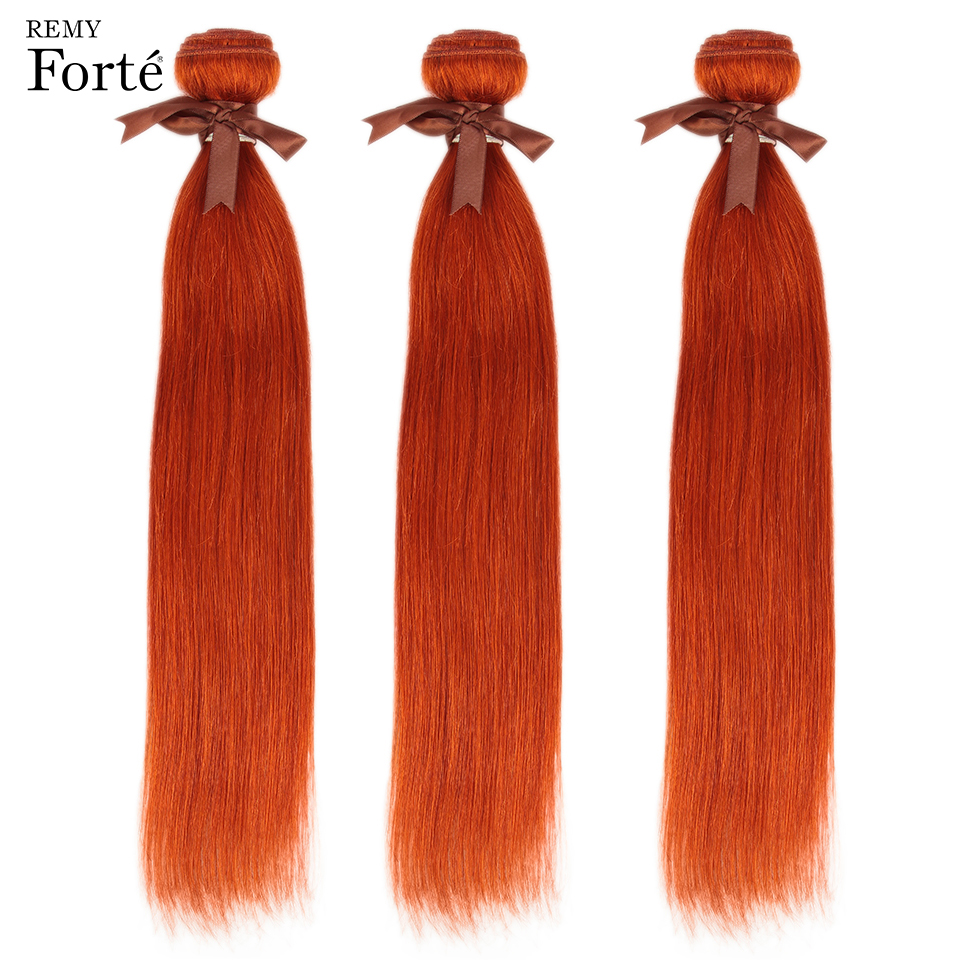 Remy Forte Straight Hair Bundles Orange Brazilian Hair Weave Bundles 100% Human Hair Bundles 1/3/4 Bundles Straight Hair Bundles