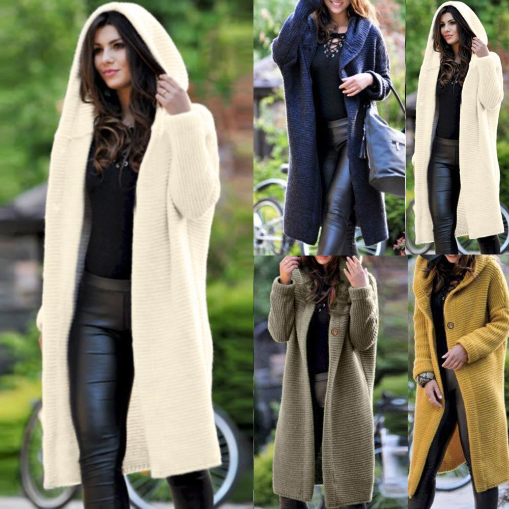 New Fashion Women Casual Hooded Breathable Sweater Knitted Jacket Outwear Button Regular Fit, Loose Coat