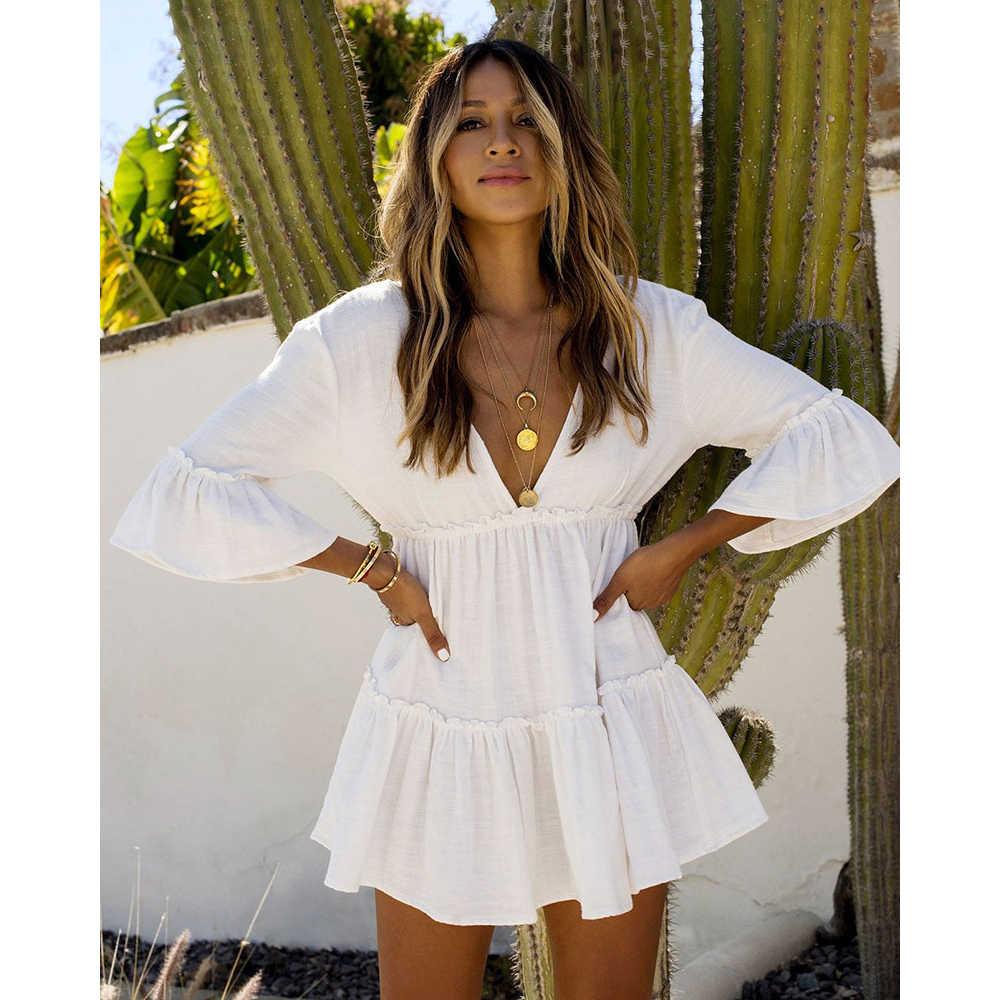 2020 New Cover-ups Summer Women Beach Wear White Cotton Tunic Dress Bikini Bath Sarong Wrap Skirt Swimsuit Cover Up