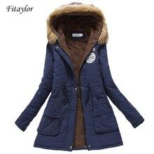 Manteaux militaires pour femmes, veste à capuche en coton ouaté mi longue, parka épaisseur grande taille XXXL, vêtements dextérieur couette neige décontracté