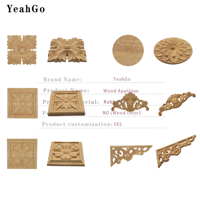 YeahGo European-style solid wood flower wood carving Round applique Furniture Home Wall decorative decal accessories Part-one 3