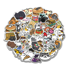 цена на 50pcs/bag Japanese Stationery Stickers Cute Cat Sticky Paper Kawaii PVC Diary Toy Sticker For Decoration Diary Scrapbooking