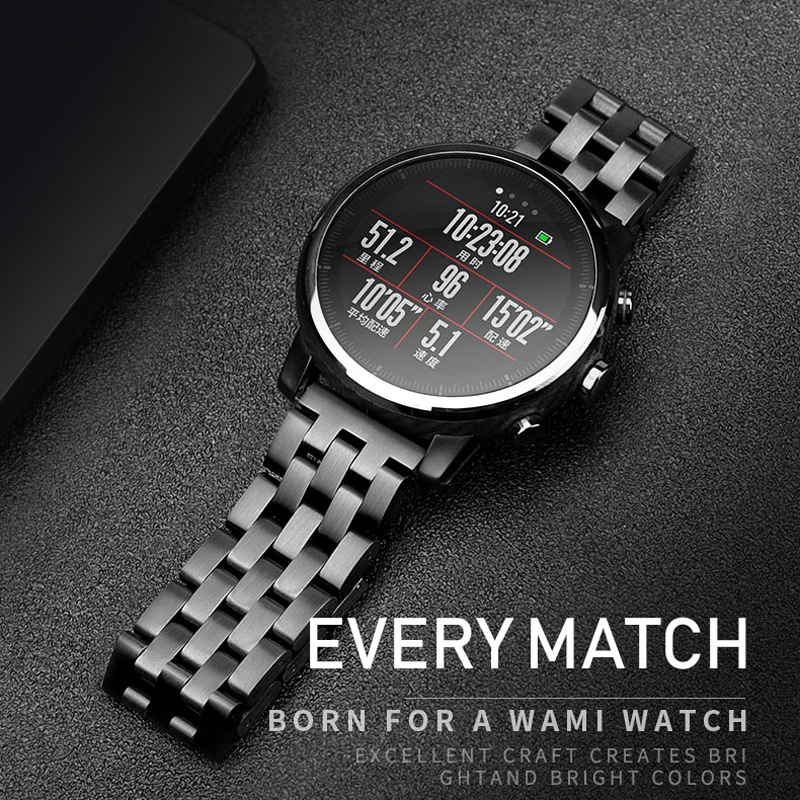 20mm 22mm Samsung Galaxy Watch Metal Stainless Steel Watch Band For Amazfit Pace Stratos2 Strap Amazfit Bip WatchBand Huawei GT