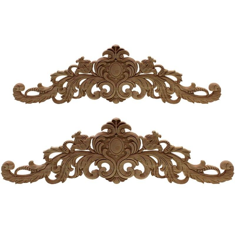 2 Pcs Carving Natural Wood Appliques For Furniture Cabinet Unpainted Wooden Mouldings Decal Vintage Home Decor Decorative, 40x11