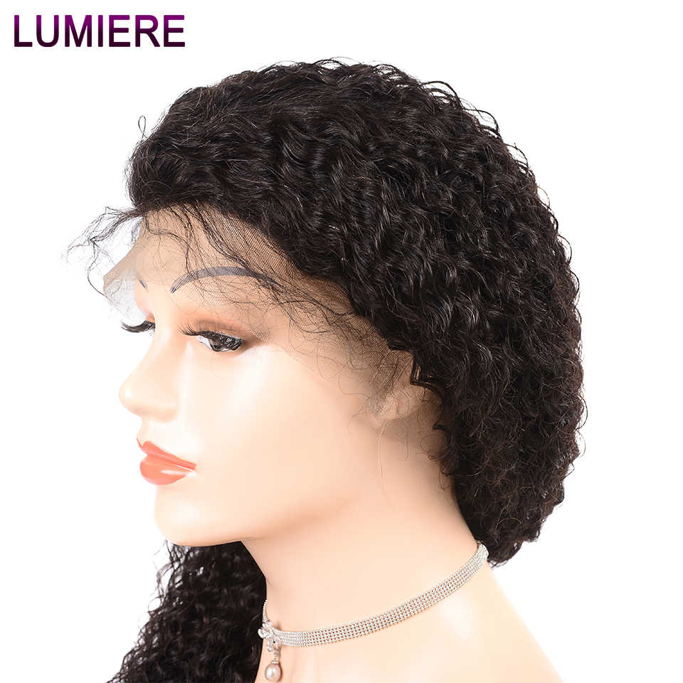 Lumiere 360 Lace Frontal Wig High Remy Human Hair Wigs Pre-Plucked With Baby Hair Malaysian Kinky Curly Wig Color 1b For Women