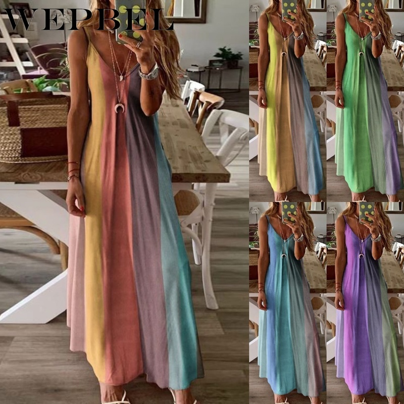 WEPBEL Women Summer Sexy Loose Casual V Neck Printed Stitching Print Dress Plus Size Beach Dress Sundress S-5XL