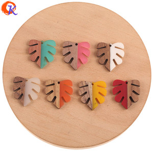 Image 1 - Cordial Design 30Pcs 28*30MM Jewelry Accessories/DIY Earrings Making/Leaf Shape/Natural Wood & Resin/Hand Made/Earring Findings
