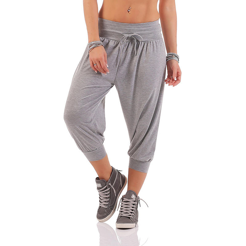 Women Befree Casual Harem Pants Solid Loose Lace Pants Plus Size Calf Length Trousers
