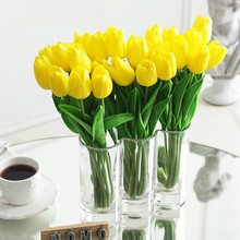 Bouquet Tulip-Flowers Artificial Birthday-Party Yellow White Real-Touch Wedding Home-Garden-Decor