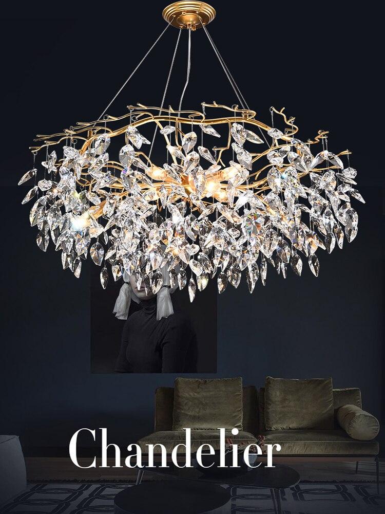 Crystal Chandelier Lighting Hanging-Lamp Hall-Art-Decor Lustre Living-Room Nordic Modern
