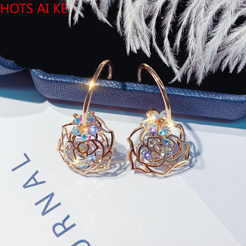 Zircon Flower Dangle Earrings for Women 2021 Bijoux Rose Crystal Drop Jewelry Exquisite Gold Color Fashion Trendy Zinc Alloy image