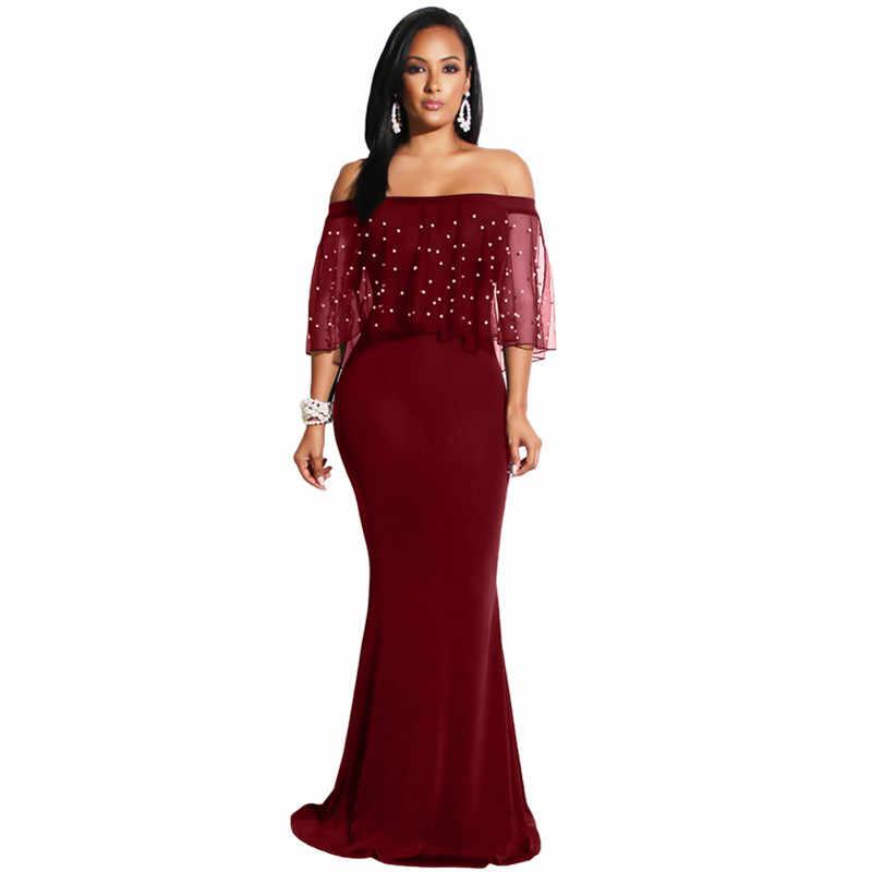 U женские вечерние платья в стиле Русалочки с жемчужинами и сетчатым воланом, в стиле пэчворк, с коротким рукавом, с вырезом лодочкой, длинное, макси, элегантные женские наряды Vestidos