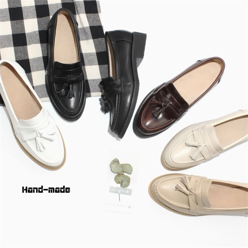 Spring Autumn New Pedal Genuine Leather Loafers Shoes Women British Polished Flat Tassel Oxford Shoes For Woman Large Size 32-43 (50)