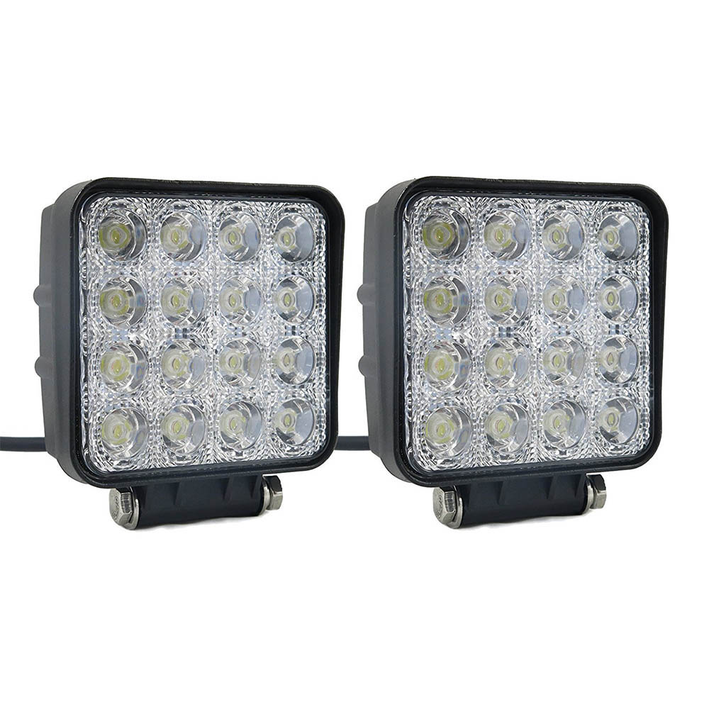2Pcs 48W LED Work Light 12V 24V Flood Beam Off Road Truck Boat Driving Lamp