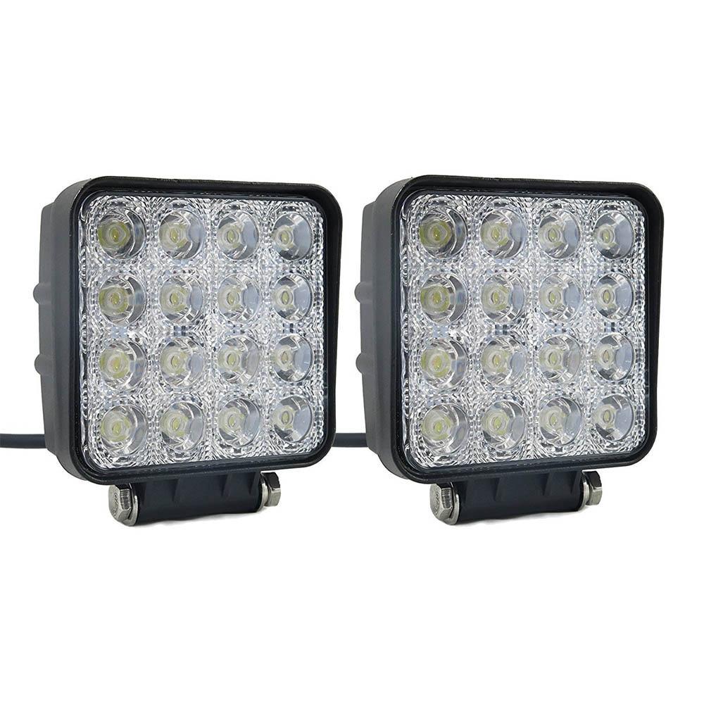 2Pcs 48W LED Work Light 12V 24V Flood Beam Off Road Truck Boat Driving Lamp