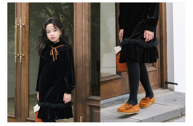 Teenage Kids Girls Winter Dress Fleece 2019 New Baby Girl Autumn Dress Black Kids Casual Dress Girl Children Top Toddler Dresses (15)