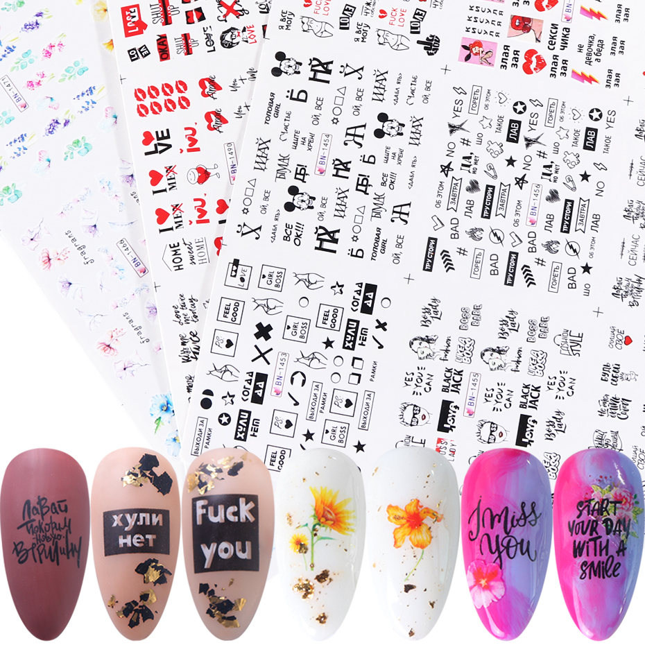 36pcs Nail Stickers Decals Set Letters Sexy Girl Flowers Water Transfer Sliders Nail Art Foil Decorations Tattoo Manicure TR1561