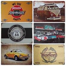 Cartel de hojalata Retro ROUTE 66 para hombre, decoración de cuevas de garaje Vintage, póster para coche, arte de pared, pegatinas colgantes, decoración para bares y salas de estar
