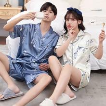 2021 summer silk Couple Pajama Sets Men Long Sleeve satin Sleepwear Set Loungewear Lovers Home Clothes Suit