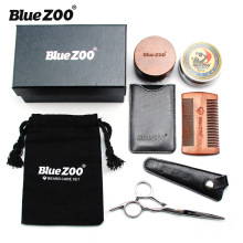 Blue Zoo Mens Care Round Brush Set Black Gold Sandalwood Comb 60g Beard Cream Bag oil Moisturizing  kit