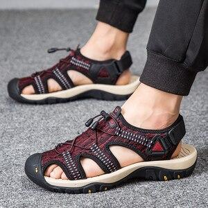 Image 3 - Summer Mesh Men Sandals Outdoor Casual Trekking Beach Slip On Closed Toe Breathable Mens Sandles Plus Size 49s