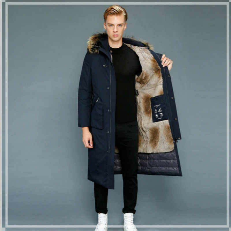 Real Fur Coat Rabbit Fur Coat Winter Jacket Men Goose Down Jacket Warm Parkas Plus Size Jackets Casaco 1807-1 YY1089