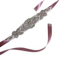 Горный хрусталь пояс для невесты нарез атласной ленты аппликацией свадебное, бальное платье Декор