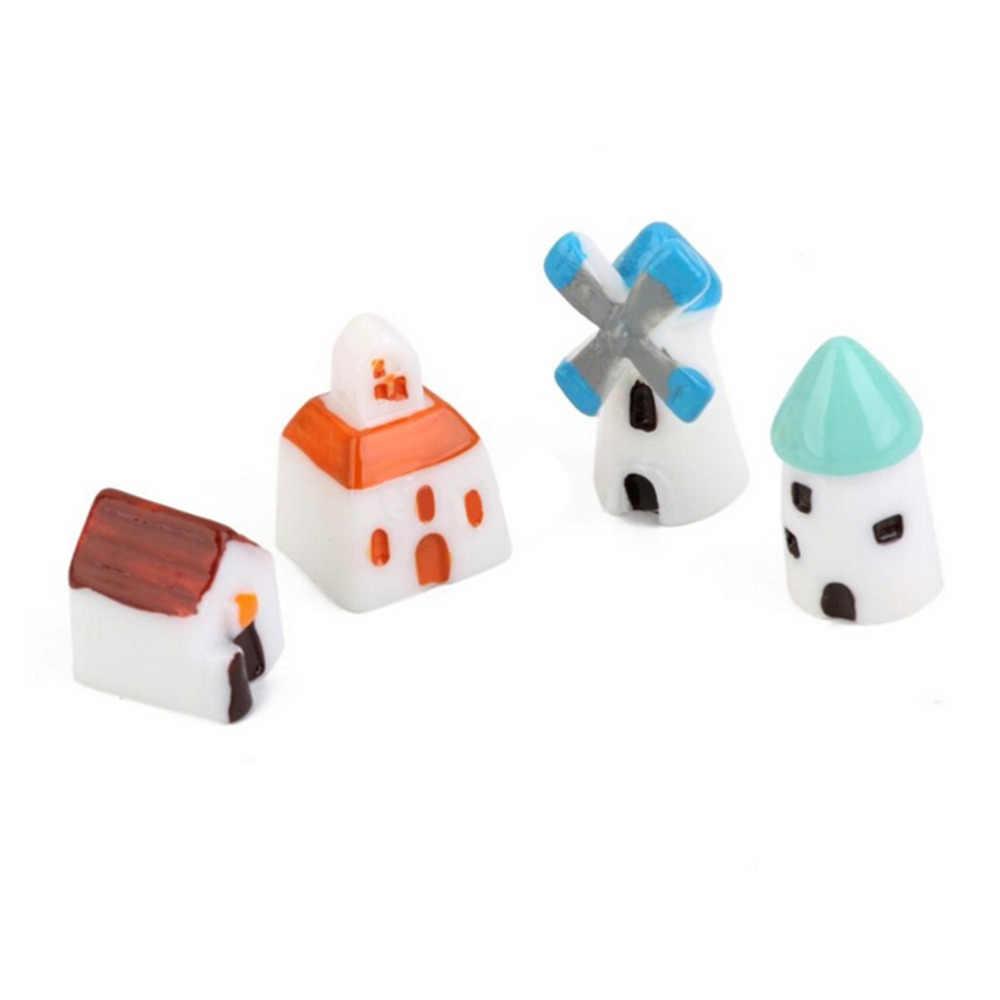 4 Pcs Rumah Peri Taman Miniatur Kerajinan Mikro Cottage Castle Kabin Gereja Kincir Angin Gudang Rumah Ornamen Lanskap Dekorasi
