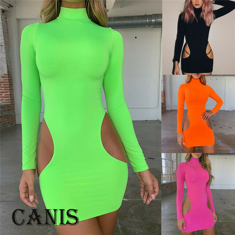 2019 Women Sexy Hollow Out Pencil Dress Bodycon Long Sleeve Mini Dresses Turtleneck Side Cut Clubwear Party Women Dress Sundress