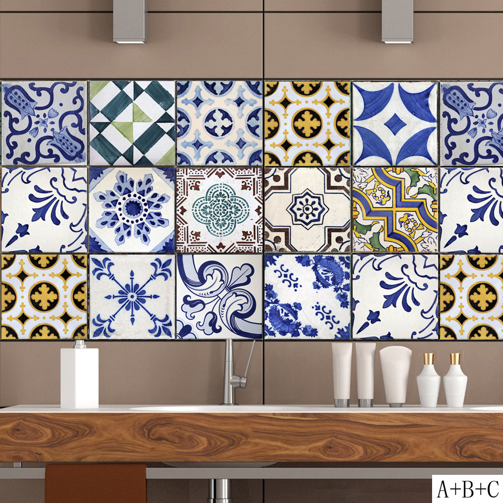 Retro Style Tile Stickers Home Decor Living Room Kitchen Bathroom Decor DIY Self-adhesive Removable Wallpaper Vinyl Mural Decals