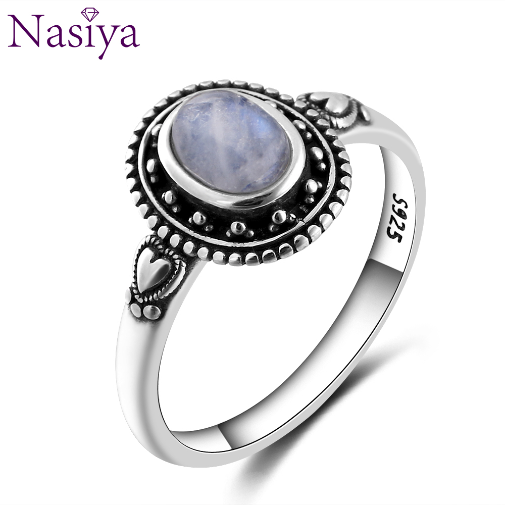 Nasiya New Design 5X7mm Natural Moonstone Ring 925 Sterling Silver Jewelry For Women Cocktail Party  Birthday Gift