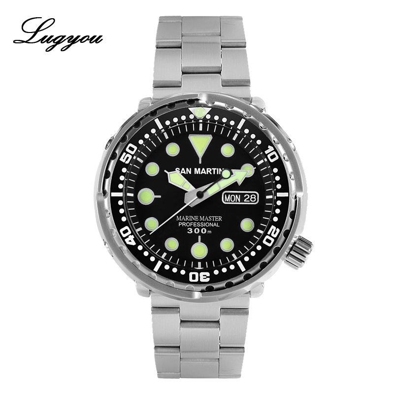 Lugyou San Martin Tuna Can Men Watch Diving Automatic Stainless Steel 30Bar Water Resistant Week Date Display Metal Bracelet Lum image