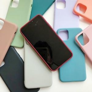 Image 3 - Manque solide couleur Silicone Couples étuis pour iphone XR X XS Max 6 6S 7 8 Plus 11 11Pro Max mignon couleur bonbon doux Simple mode coque de téléphone nouveau